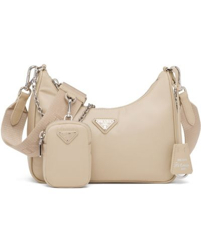 Бежевая кожаная сумка Prada