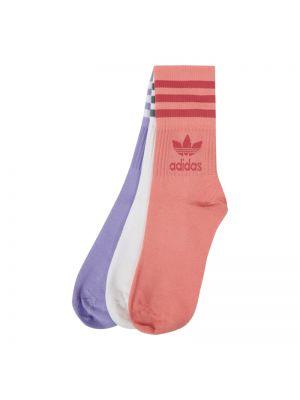 Prążkowane fioletowe skarpety bawełniane Adidas Originals