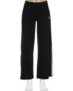 Хлопковые расклешенные брюки на резинке с карманами с открытым носком Ea7 Emporio Armani