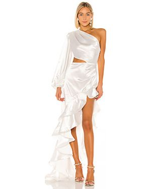 Вечернее белое плиссированное вечернее платье на пуговицах Bronx And Banco