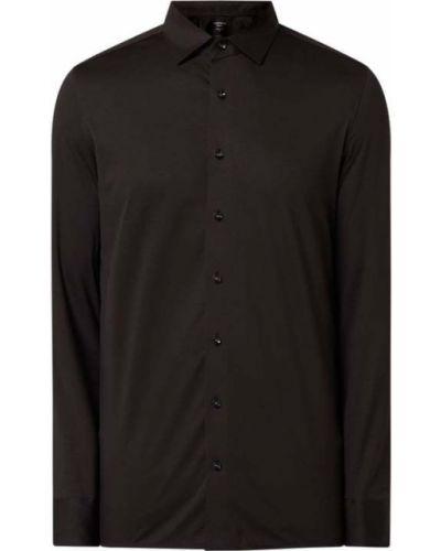 Czarna koszula bawełniana z długimi rękawami Olymp
