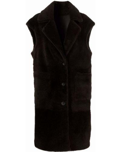 Кожаная куртка с воротником - черная Arma