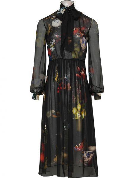 Пышное черное шелковое платье с оборками Oscar De La Renta