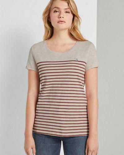 Джинсовая футболка - бежевая Tom Tailor Denim