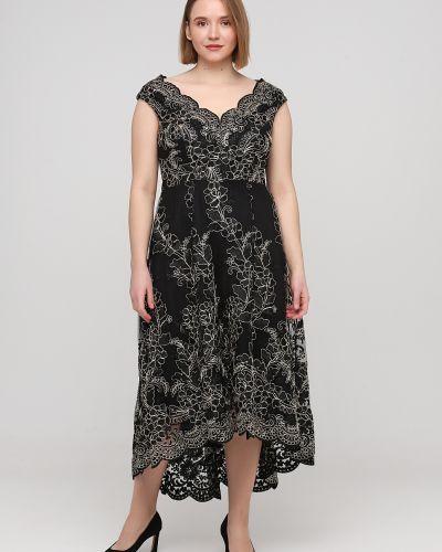 Расклешенное черное коктейльное платье с вышивкой Goddiva