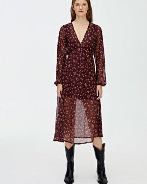 Платье бордовый прямое Pull&bear