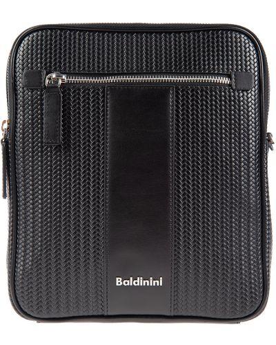 Черная текстильная кожаная сумка Baldinini