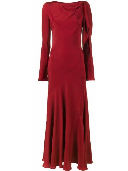 Красное шелковое платье с вырезом Olivier Theyskens