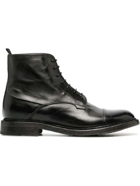 Кожаные черные ботинки на каблуке на шнуровке на каблуке Silvano Sassetti