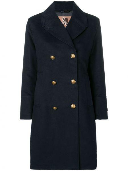 Синее длинное пальто с капюшоном двубортное Sealup