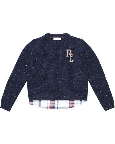 Niebieski bawełna kaszmir sweter z obrazem Brunello Cucinelli Kids