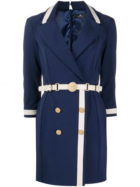 Платье с поясом на пуговицах с лацканами Elisabetta Franchi