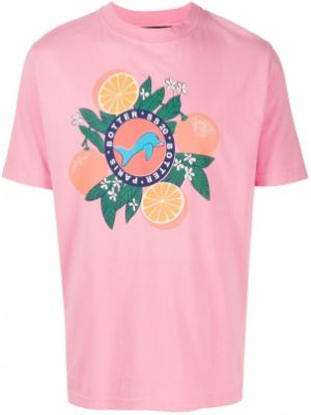 Pomarańczowy t-shirt bawełniany z printem Botter