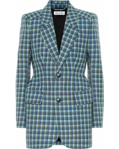 Пиджак шерстяной синий Balenciaga