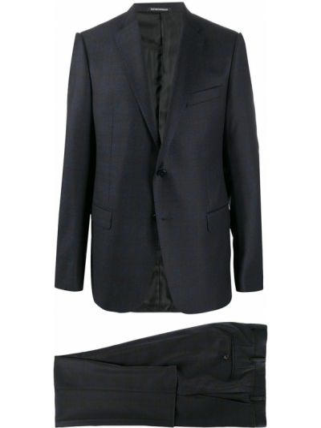 Синий деловой шерстяной костюм классический Emporio Armani