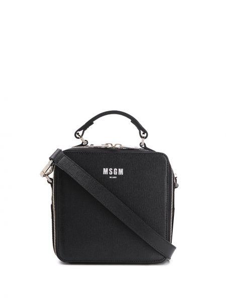 Черная сумка-тоут круглая на молнии с карманами Msgm