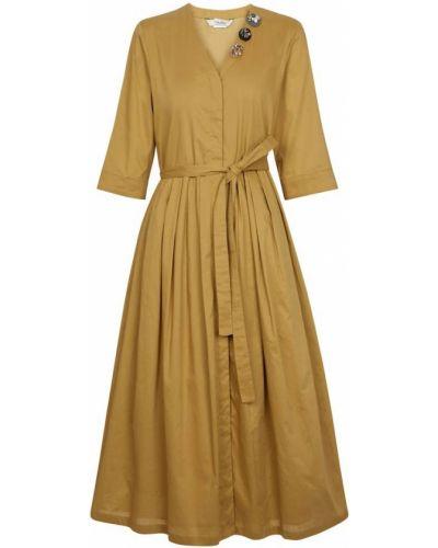 Хлопковое желтое платье миди с V-образным вырезом 's Max Mara
