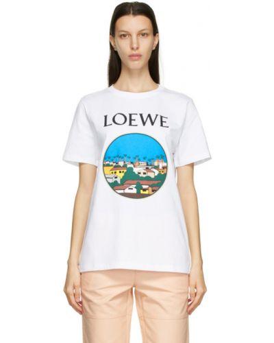Czarny t-shirt bawełniany z haftem Loewe