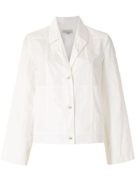 Белое длинное пальто с воротником с карманами Alcaçuz