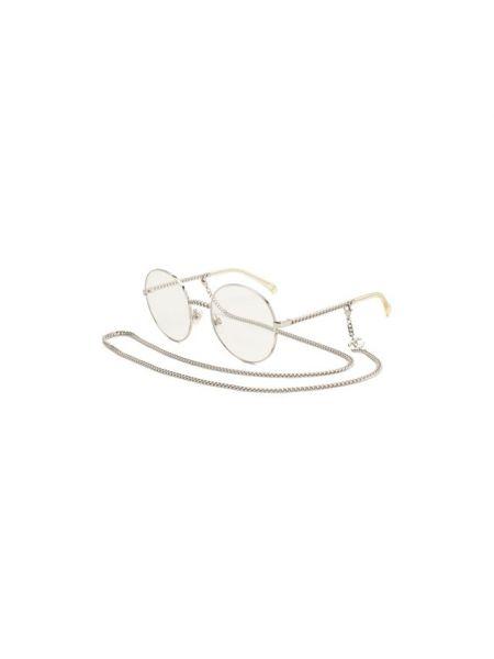 Серебряные очки металлические Chanel