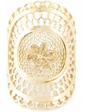Золотистое желтое кольцо позолоченное с декоративной отделкой Wouters & Hendrix