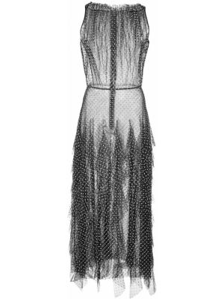 Нейлоновое платье миди прозрачное с оборками без рукавов Jason Wu Collection