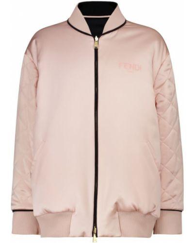 Шелковая розовая куртка двусторонняя Fendi