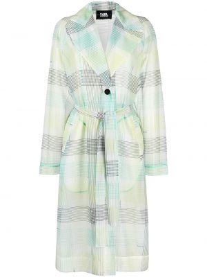 Zielony długi płaszcz z długimi rękawami z printem Karl Lagerfeld