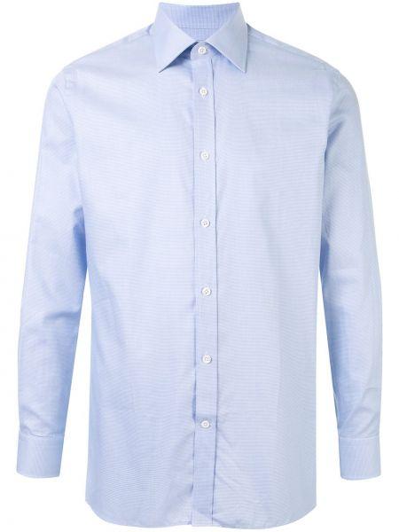 Niebieska klasyczna koszula bawełniana z długimi rękawami Gieves & Hawkes
