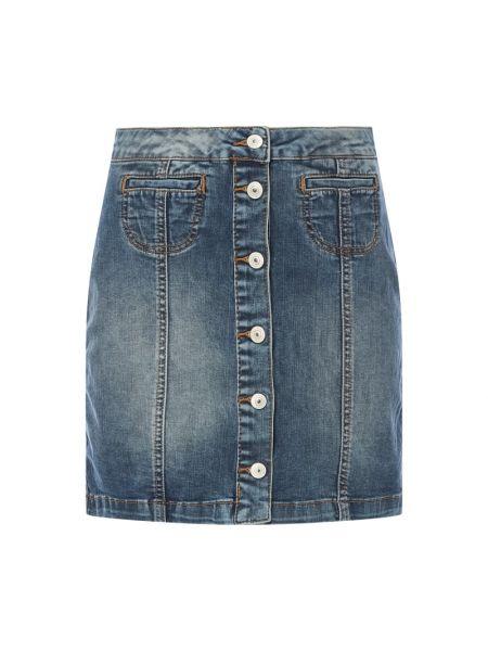 Niebieska spódnica jeansowa rozkloszowana bawełniana Ltb