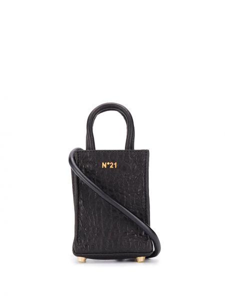 Z paskiem czarny torba na zakupy z prawdziwej skóry z ozdobnym wykończeniem N°21