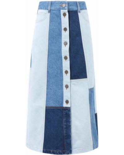 Хлопковая синяя джинсовая юбка Gerard Darel