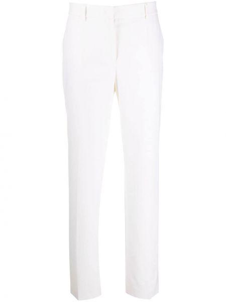 Шерстяные прямые деловые брюки с высокой посадкой Alberta Ferretti