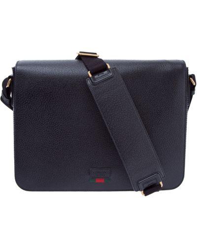 Кожаная сумка мессенджер текстильная Gucci