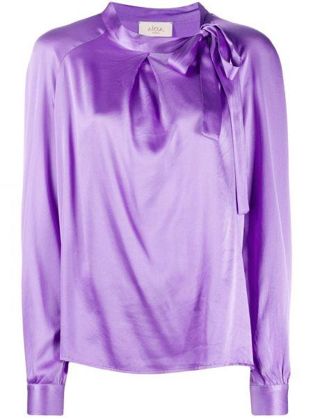 Сиреневая шелковая блузка с длинными рукавами Altea