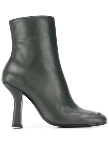 Зеленые сапоги без каблука на каблуке с квадратным носком квадратные Dorateymur