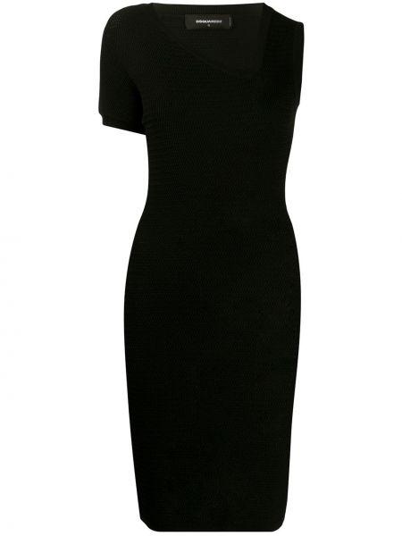 Платье в рубчик с V-образным вырезом Dsquared2