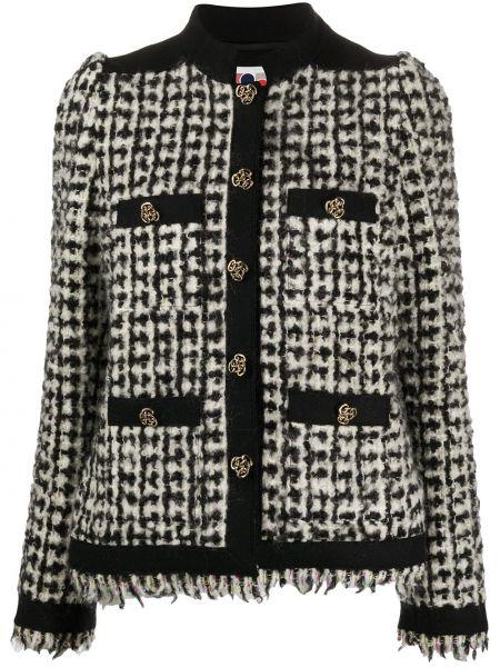 Черная длинная куртка с бахромой твидовая круглая Ports 1961
