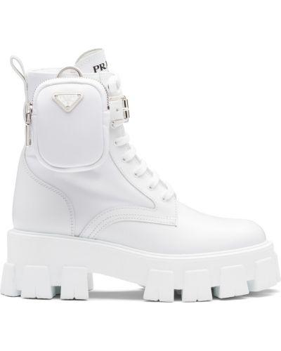 Белые нейлоновые ботинки без каблука Prada