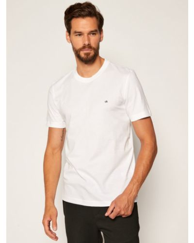 Biały t-shirt z haftem Calvin Klein