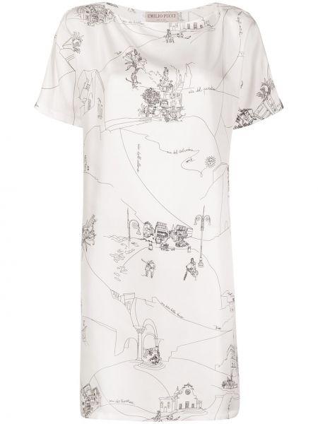Шелковое белое платье мини трапеция Emilio Pucci