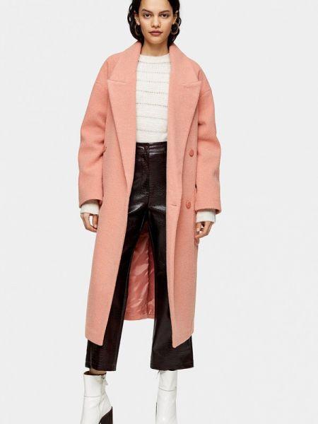 Розовое пальто с капюшоном Topshop