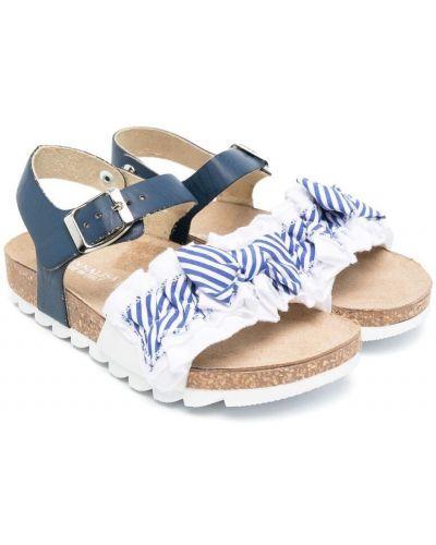 Открытые синие сандалии с бантом Monnalisa
