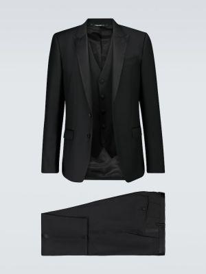 Satynowy czarny smoking Dolce And Gabbana