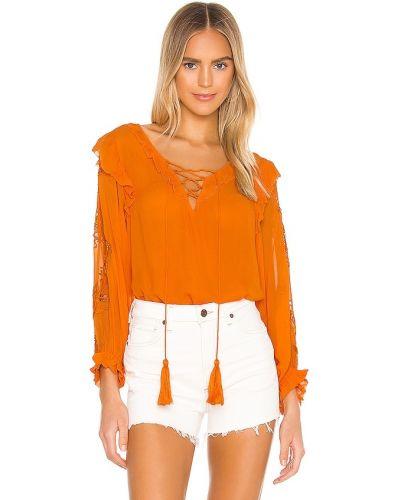 Оранжевый шелковый кружевной топ Karina Grimaldi