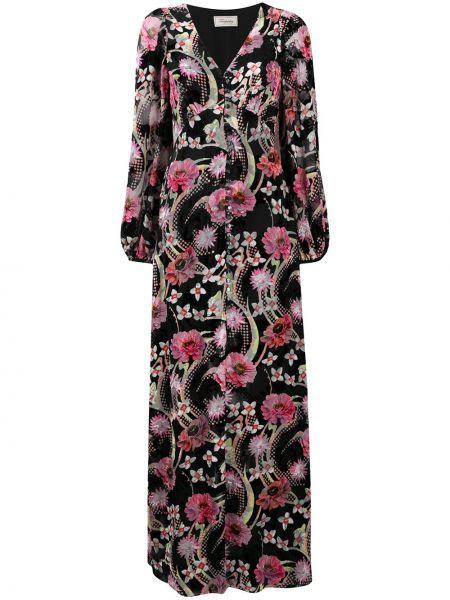 Черное шелковое платье макси на пуговицах с V-образным вырезом Temperley London