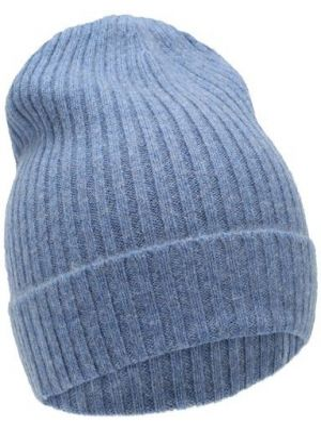 Мягкая кожаная синяя шапка Not Shy