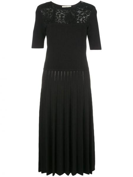 Черное приталенное ажурное платье миди с вырезом Jason Wu Collection