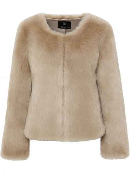 Beżowa długa kurtka z haftem z długimi rękawami Unreal Fur