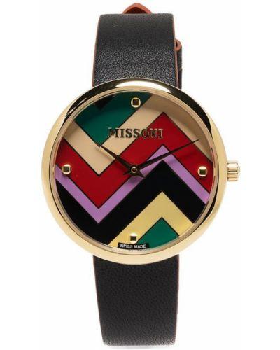 Czarny zegarek skórzany z printem Missoni